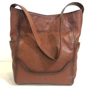 NWT FRYE Leather Cognac Brown Hobo Bag